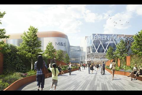 "The ""living bridge"" proposed for the redevelopment of Brent Cross Shopping Centre"